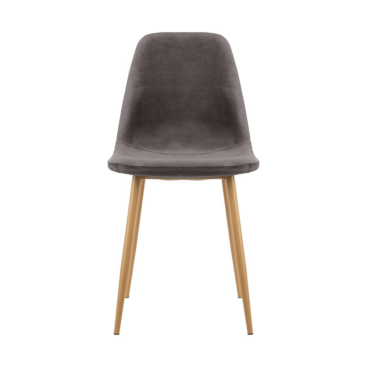 Chaise grise scandinave en velours Roka