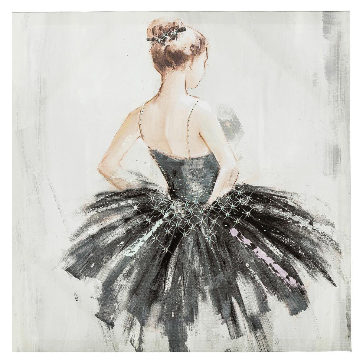 Toile peint main danseuse grise