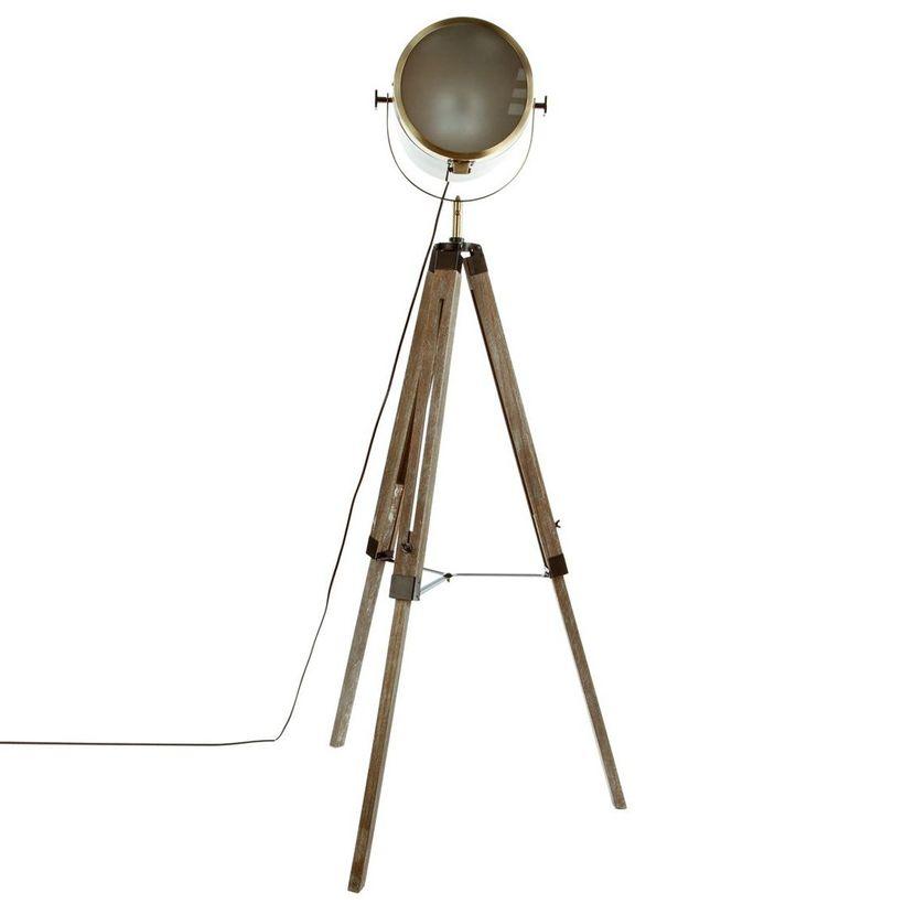 Lampadaire projecteur bois métal
