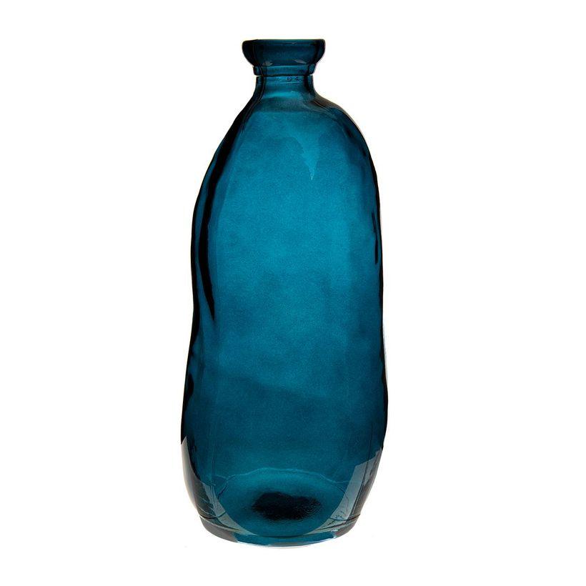 Vase bouteille bleu nuit en verre recyclé H. 35 cm