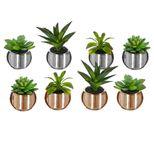 Plante artificielle succulente en pot brillant