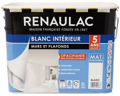 Peinture Blanche Mur Et Plafond Mat Renaulac 5l Kalico