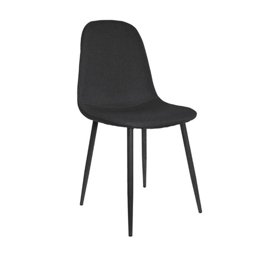 Chaise scandinave en tissu noir pieds noirs