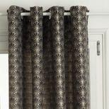 Rideau jacquard gris à motifs art déco Durazno 140x260 cm