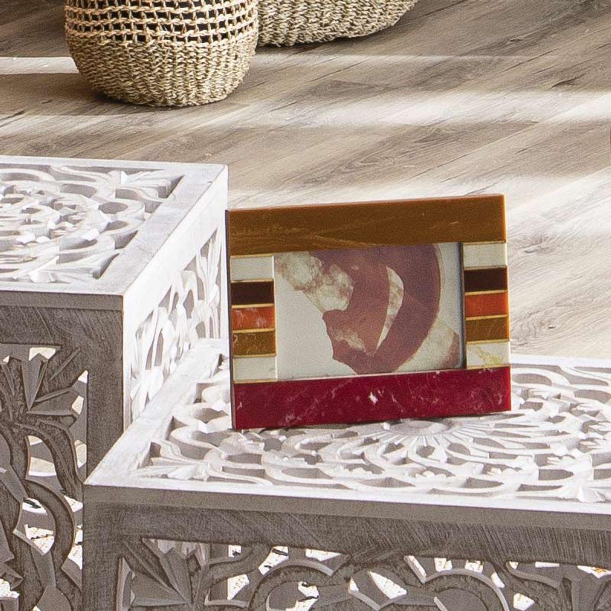 Cadre photo à motifs terracotta