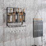 Etagère murale range bouteilles en métal
