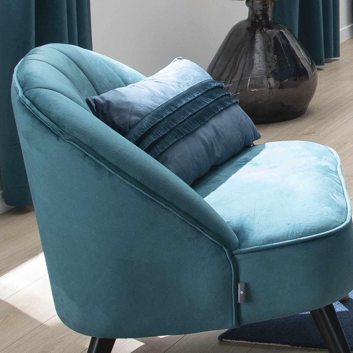 Coussin à franges bleu 30x50 cm