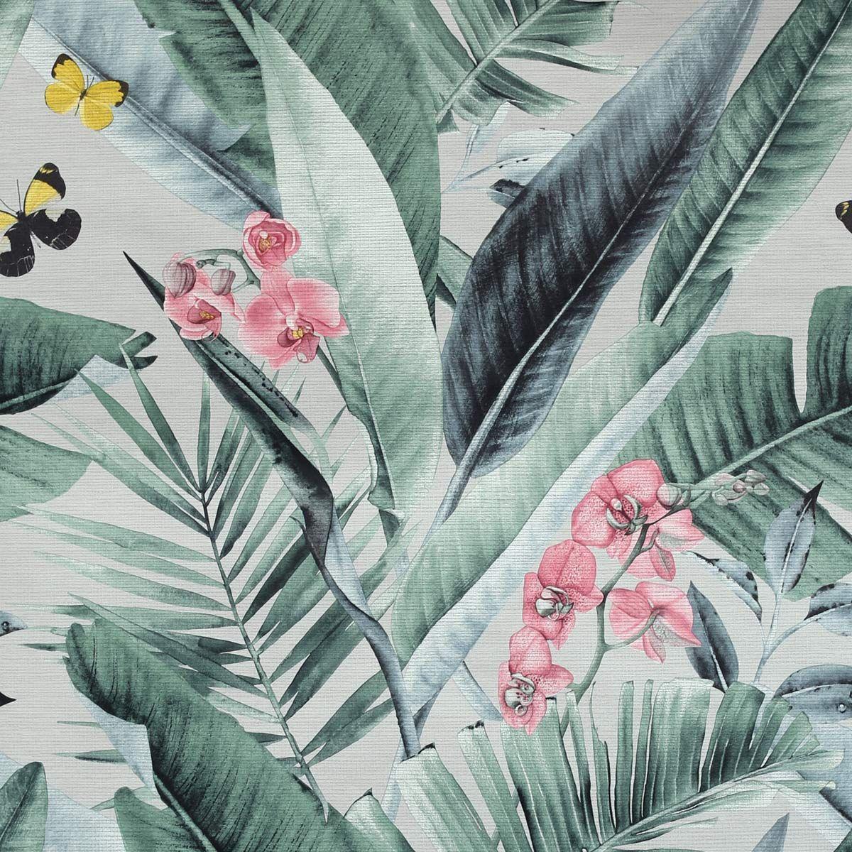 Papier peint intissé jungle floral vert gris York