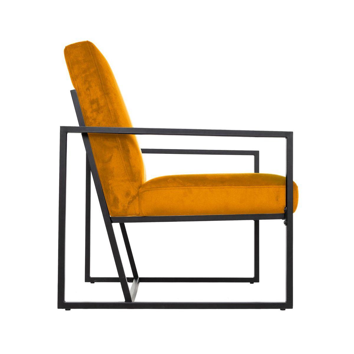 Fauteuil contemporain structuré en velours jaune