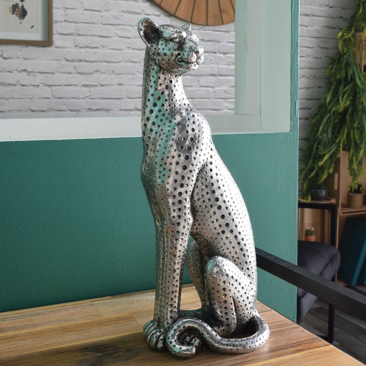 Léopard assis argenté 38 cm