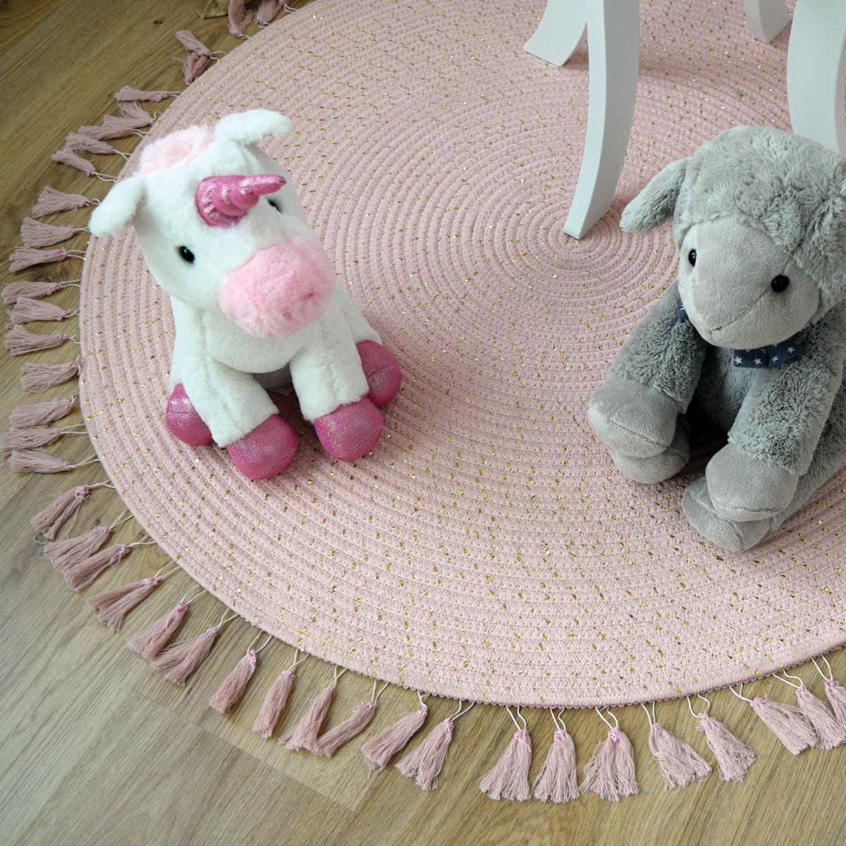 Tapis enfant rond à franges rose lurex D. 90 cm