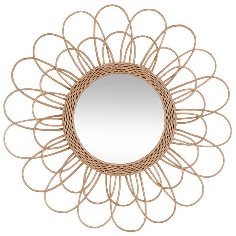 Miroir rotin fleur