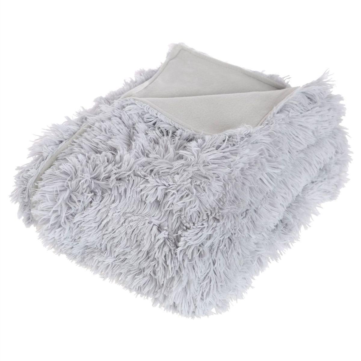Plaid fausse fourrure gris Chamonix 120x160 cm