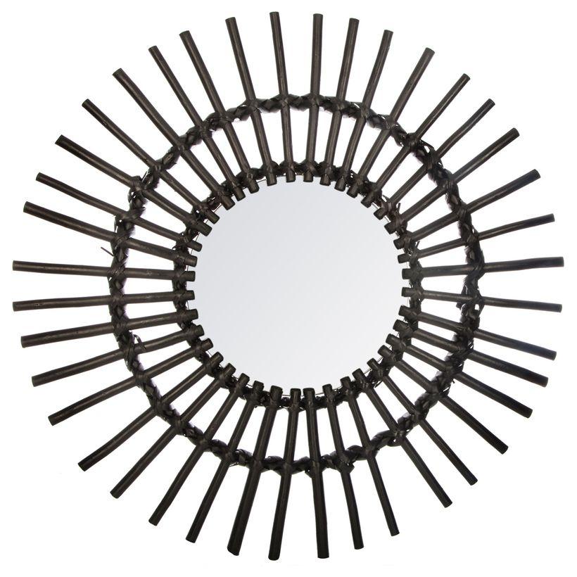 Miroir rotin noir