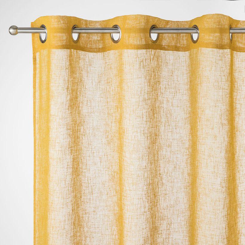 Rideau effet lin jaune moutarde Caraz 140x240 cm