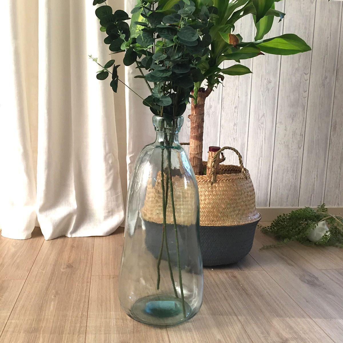 Vase bouteille transparent en verre recyclé