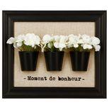 Cadre 3d fleurs blanc noir
