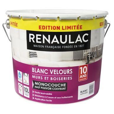 Peinture Blanc Intérieur Velours Renaulac 10l Kalico
