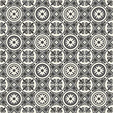 Sol PVC carreaux ciment blanc noir Rivalta 300cm - Linoléum ...
