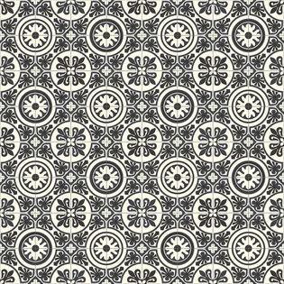 Sol Pvc Carreaux Ciment Blanc Noir Rivalta 300cm