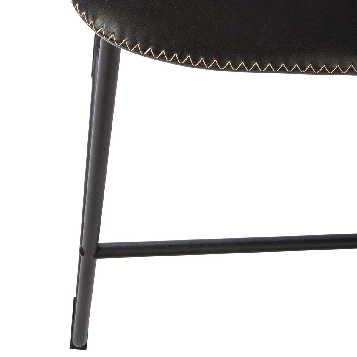 Tabouret de bar confortable surpiqué noir