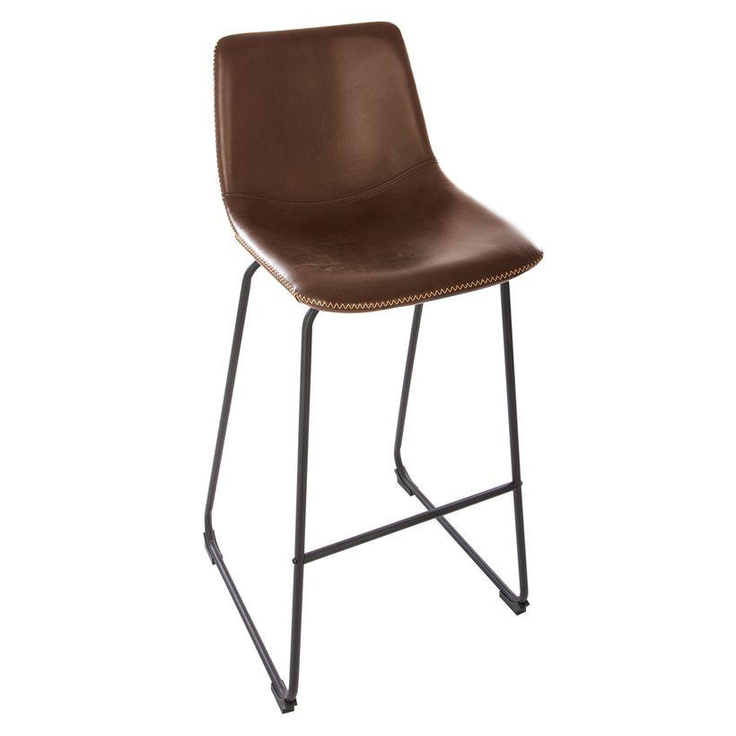 Tabouret de bar confortable surpiqué marron